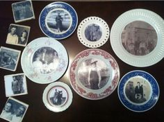 DIY Project for Granny-Tutorial: Modge Podge pics onto the inset of plates for wall art with a story!