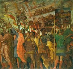 Andrea Mantegna, c.1431-1506, Italian, The Triumphs of Caesar, no.1: The Picture-Bearers, c.1484-92.  Tempera on canvas.  Royal Collection Trust, Windsor.  Early Renaissance.