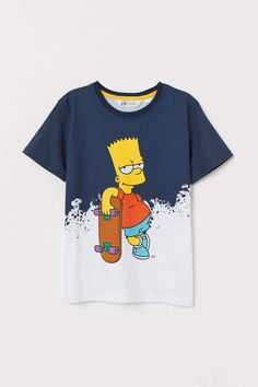 T-shirt with Motif - Dark blue/The Simpsons - Kids Simpsons T Shirt, The Simpsons, Boys T Shirts, Tee Shirts, Cartoon Outfits, Geile T-shirts, Teenage Girl Outfits, Tee Shirt Designs, Kawaii Clothes