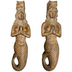 Pair of Carved Mermaid Sconces from a ship circa 1900 | From a unique collection of antique and modern nautical objects at http://www.1stdibs.com/furniture/folk-art/nautical-objects/