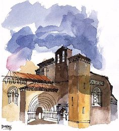 Sijena, Sigena o Sixena Pen And Wash, Ink Wash, Watercolor Sketch, Watercolor Paintings, Urban Sketchers, Watercolours, Old Houses, Home Art, Adventure Travel