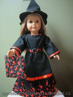 """Free 18"""" American Girl Doll clothes patterns. Free American Girl Doll Halloween Ragged Witch Dress Tutorial AG016"""