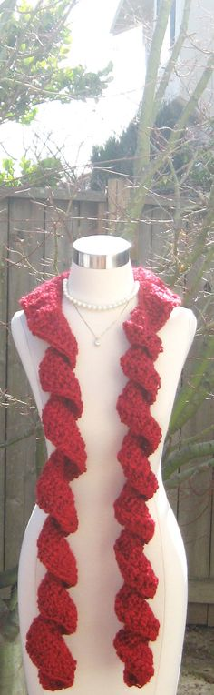 RED FASHION SCARF ruffled crochet long scarf by marianavail, $19.00 Red Scarves, Long Scarf, Red Fashion, Scarf Styles, Crochet Necklace, Trending Outfits, Reading, Unique Jewelry, Handmade Gifts