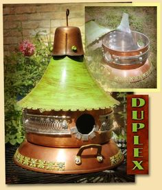Upcycled, Recycled Copper Pot and Pan Green Cottage Top Birdhouse