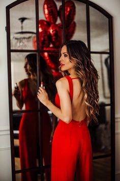 what to wear on valentine's day - red jumpsuit