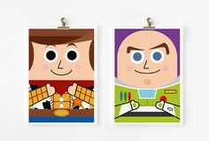 Toy Story - Woody and Buzz Lightyear 5x7 art prints set fo 2