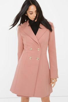 This long coat features a charming pink hue, and is accented by golden buttons. Stylist Note: We designed this piece with slimming shaping seams to keep your look sleek. Color Story | White House Black Market
