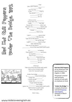 ESL and the Red Hot Chili Peppers! This is a fun listening activity with a free fill-in-the-blanks lyrics worksheet. #tefl