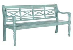 Betsey Bench $339. Crafted of acacia--a hardwood prized for its durability and moisture-resistance--and fashioned with mortise-and-tendon joint construction, this slatted outdoor bench will last you for seasons to come. Detailed with intricately carved legs and a refreshing blue hue.