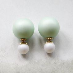 Matte Light Green-White Double Sided earrings