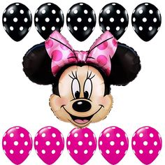 Birthday Party Supplies Minnie Mouse Pink Black Polka dots Foil balloons bouquet #Anagram #BirthdayChild