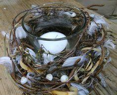 Kerzenglas für Ostern ausgarniert