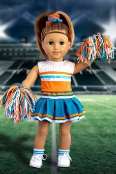 DreamWorld Collections Cheerleader - 6 piece cheerleader outfit includes blouse, skirt, headband, pompons, socks and shoes - American Girl Doll Clothes : Activewear Doll Clothes Cheer Outfits, Cheerleading Outfits, Girl Outfits, Cheerleading Workouts, Cheerleading Cheers, Cheerleading Pictures, My American Girl, American Girl Clothes, Baby Doll Clothes