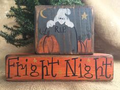 Primitive Country Ghost Pumpkins Fright Night Halloween Shelf Sitter Wood Blocks #PrimtiveCountry