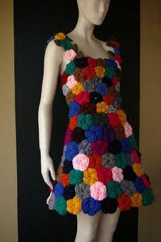 Crochet Roses Wearable ART Clothing with Roses, Puffy sleeves Crochet Puff Flower, Crochet Flower Patterns, Crochet Flowers, Unique Crochet, Knit Crochet, Crochet Wedding Dress Pattern, Recycled Dress, Crochet Slippers, Rose Dress