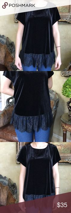 Adrianna papell velvet top beautiful velvet top with lace details, the back of the top is slightly longer Adriana Papell Tops Blouses
