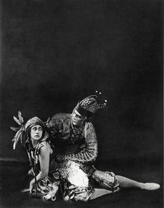 Ballet Russe dancers Tamara Karsavina & Adolph Bolm in 'Firebird' at Covent Garden Theater, London - 1911.