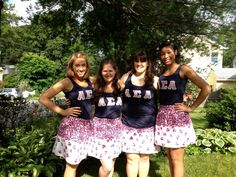 matching outfits (Letters and lady bug skirts) on our way to Martha's Vineyard.
