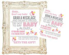 Sale Instant digital download, Don't say baby shower game chalkboard sign.  Printable 8x10