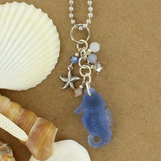 Sadie Green's Sea Glass Starfish Cluster Necklace in Light Sapphire