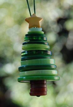 Stacked random button Christmas tree ornaments. <3