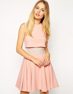 ASOS Skater Dress With Embellished Waist And Crop Top