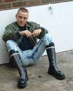 Mode Skinhead, Skinhead Men, Skinhead Boots, Skinhead Fashion, Mens Fashion, Skin Head, Hot Boys, Leather Men, Sexy Men