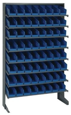 Pick Rack Single Sided 12 x 36 x 60, 8 Shelves, 40 QSB102 BLUE Bins 12 x 7 by Quantum. $443.23. . Comes complete with economical shelf bins. Available as bench units, single and double sided free standing and mobile units. Reinforced edges for added strength, waterproof, imprevious to most chemicals and unaffected by grease or oil. All-in-one unit that is easy to clean and will not rust or corrode.Convenient high density, easy access, sloped-shelving system. Comes c...