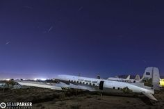 "2013 Quandrantid Meteors Over the airplane ""Boneyard"" in Tucson, AZ by Sean Parker"