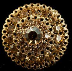 Vintage Goldtone Rhinestone Circular Brooch by DianaKirkpatrickArt, $25.00