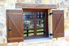Fabricante de puertas, escaleras, ventanas y miradores de madera y aluminio en Bilbao Vizcaya Exterior Barn Doors, Window Shutters Exterior, Cedar Shutters, Diy Shutters, Wooden Shutters, Exterior House Colors, Rustic Window Frame, Garage Door Design, French Country Farmhouse