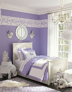 Lavender/purple and white girl room from pottery barn. love this shade of purple against the white furniture