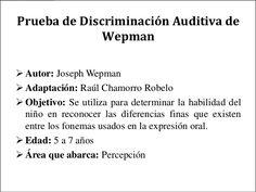 Prueba de Discriminación Auditiva de              Wepman Autor: Joseph Wepman Adaptación: Raúl Chamorro Robelo Objetivo... Psp, Audio, Goal, Sign Language, Desktop