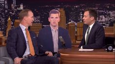 "NEW YORK -- Still basking in the glow of his Super Bowl win, Peyton Manning appeared on NBC's ""Tonight Show"" Wednesday to dodge more questions about his football future. Manning and NBA legend Magi..."