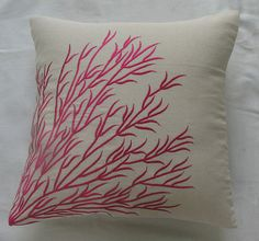 off white throw pillow pink coral branch embroidery by anitanirma, $24.49