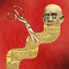 'Ghandi with Newsprint Beard', Collage Art, by David Plunkert.