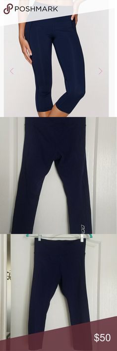 Lorna Jane 7/8 navy blue tights 7/8 length navy blue control top core support. Totally flawless only worn a couple of times. Lorna Jane Pants Leggings