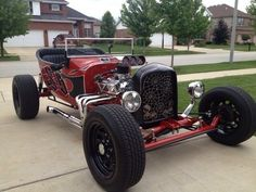 Red t bucket hot rod rat rod