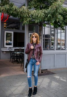 Style Guide: How to Stay Comfy & Chic This Fall Coloured Leather Jacket, Fashion Over 50, Suede Booties, Put On, Style Guides, Stylish Outfits, Looks Great, Mom Jeans, Personal Style
