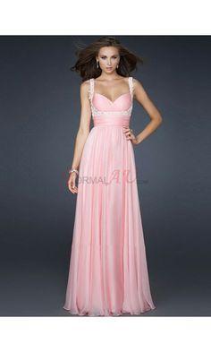 Sheath Spaghetti Straps Chiffon Formal Dresses/Long Evening Dresses with Beading FAU1404P801588 - Formalau.com