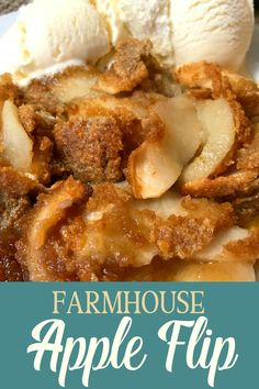 This Farmhouse Apple Flip is a simple, sweet dessert.  Sliced apples, graham cracker crumbs, butter, sugar, and cinnamon are the only ingredients!  The recipe is DELICIOUS and EASY! Best Dessert Recipes, Sweet Desserts, Apple Recipes, Pumpkin Recipes, Easy Desserts, Fall Recipes, Delicious Desserts, Flip Recipe, Easy Cooking