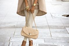 all neutral outfit, tan, cream, nude, stacked bracelets