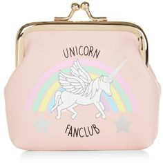 New Look Pink Unicorn Fan Club Clip Top Coin Purse (8,94 BRL) ❤ liked on Polyvore featuring bags, wallets, accessories, clutches, coin purse, pink, kiss lock coin purse, coin pouch, pink bag and unicorn bag