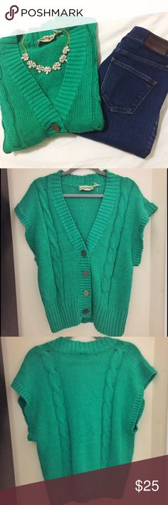 """DVF   Teal Sweater Vest   Size: M DVF   Teal Sweater Vest   Size: M   Good Condition   Small Hole Near Bottom Button (ask for photos)   True to Size   Pet/Smoke Free Home   55% Raime 45% Cotton   Bust: 32"""" Length: 24"""" Diane von Furstenberg Jackets & Coats Vests"""