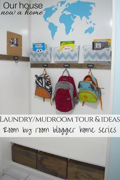 DIY and low cost mudroom and laundry room ideas. 10 laundry rooms from blogger home ideas! Organizing, adding function and style to a small space that is a dual function. Back pack station and simple updates.