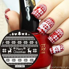 Elk Merry Christmas Pavilion Nail Art Stamp Template Image Plate hehe060