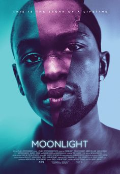 Moonlight film poster, designed by Los Angeles studio InSync. The film combines three photographs of the film's protagonist in a single image
