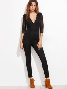 Black Deep V Neck Sheer Sleeve Skinny Lace Jumpsuit