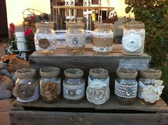 TEN HANGING MASON Jars Burlap Lace Bulk by RusticChicBodyShop