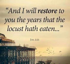Joel 2:25 - GOD is in the restoring business.  Trust and believe He will do what He said He will do